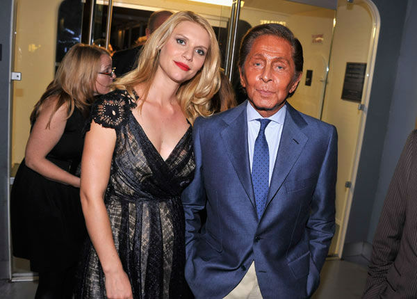Actress Claire Danes and designer Valentino Garavani attend the Showtime and Time Warner Cable hosted premiere screening and reception to launch the second season of 'Homeland' at the Intrepid Sea-Air-Space Museum on September 7, 2012 in New York City.