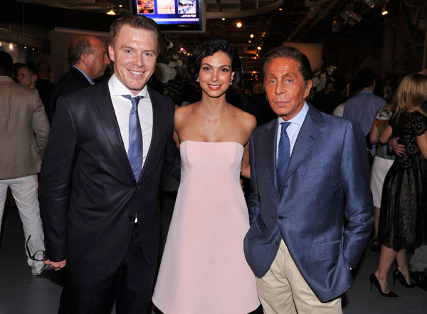 Actors Diego Klattenhoff, Morena Baccarin and designer Valentino Garavani attend the Showtime and Time Warner Cable hosted premiere screening and reception to launch the second season of 'Homeland' at the Intrepid Sea-Air-Space Museum on September 7, 2012