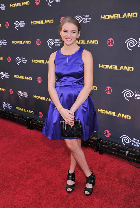 Actress Morgan Saylor attends the Showtime and Time Warner Cable hosted premiere screening and reception to launch the second season of 'Homeland' at the Intrepid Sea-Air-Space Museum on September 7, 2012 in New York City.