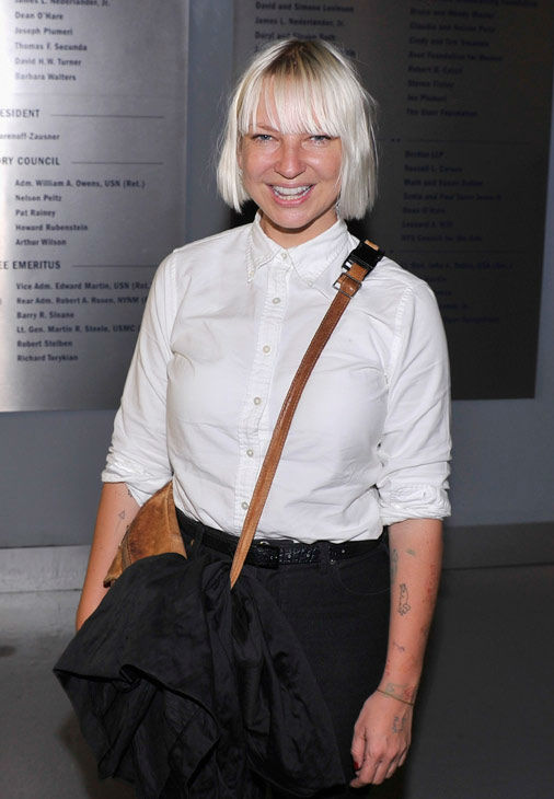 Singer Sia Furler attends the Showtime and Time Warner Cable hosted premiere screening and reception to launch the second season of 'Homeland' at the Intrepid Sea-Air-Space Museum on September 7, 2012 in New York City.