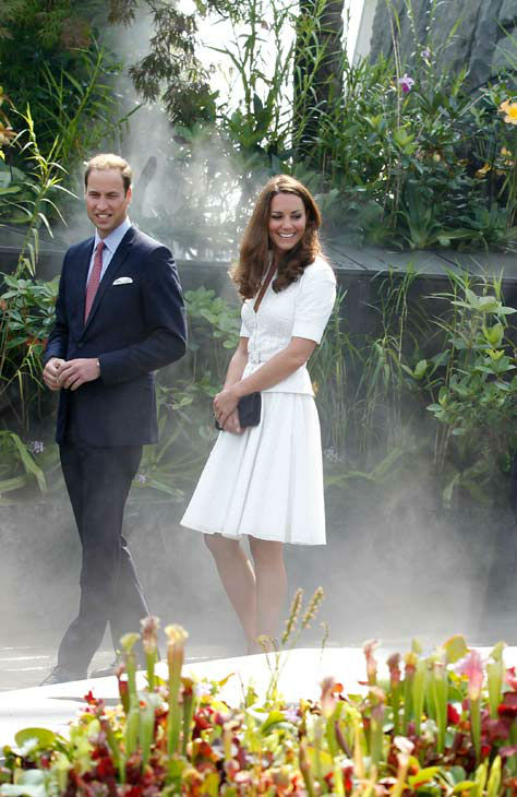 Prince William, the Duke of Cambridge and Kate, the Duchess of Cambridge tour the Cloud Forest at Singapore&#39;s Gardens by the Bay on Wednesday Sept. 12, 2012 in Singapore during their official three day visit. Middleton wore a white eyelet skirt suit designed by Alexander McQueen with navy blue Stuart Weizman Corkswoon wedges. <span class=meta>(AP Photo&#47; Wong Maye-E)</span>