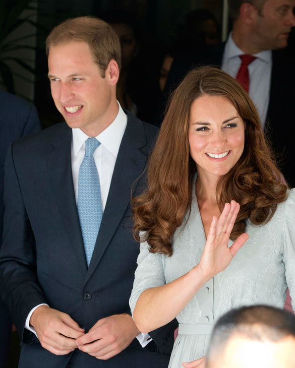 Britain&#39;s Prince William and his wife Kate, the Duke and Duchess of Cambridge wave as they leave Hospis Malaysia in Kuala Lumpur, Malaysia, Thursday, Sept. 13, 2012.  Prince William and Kate are in Malaysia for a three-day visit as part of a tour to mark Queen Elizabeth II&#39;s Diamond Jubilee.  Middleton wore a Jenny Packham bespoke eucalyptus silk crepe shirt dress with a French lace bodice. <span class=meta>(AP Photo&#47; Mark Baker)</span>