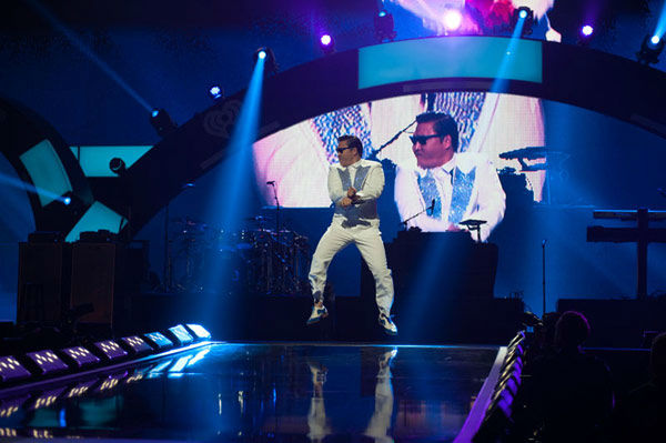 Psy performs onstage during the 2012 iHeartRadio Music Festival at MGM Grand Garden Arena in Las Vegas, Nevada.