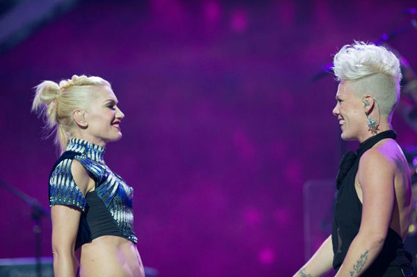 "<div class=""meta ""><span class=""caption-text "">September 21, 2012 – Gwen Stefani of No Doubt and P!nk perform onstage during the 2012 iHeartRadio Music Festival at MGM Grand Garden Arena in Las Vegas, Nevada. (Brian Friedman for Clear Channel.)</span></div>"