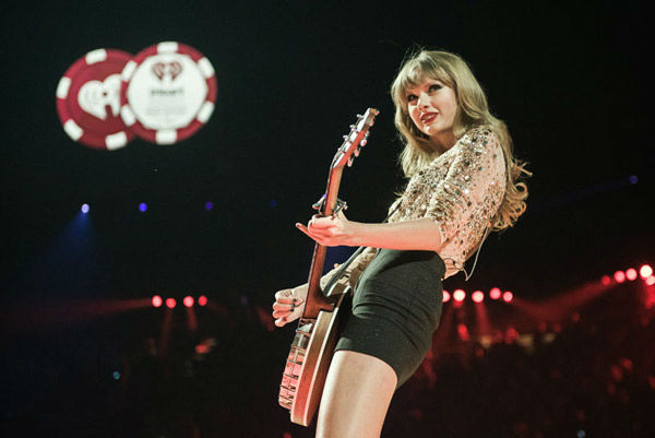 Singer Taylor Swift performs onstage during the...