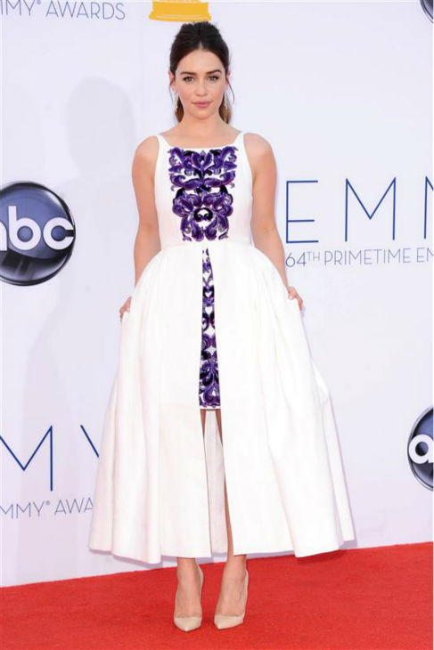 Emilia Clarke &#40;Daenerys Targaryen on &#39;Game Of Thrones&#39;&#41; appears at the 2012 Emmy Awards in Los Angeles on Sept. 23, 2012. She is wearing a Chanel Resort dress and Chanel jewelry.  <span class=meta>(Kyle Rover &#47; Startraksphoto.com)</span>