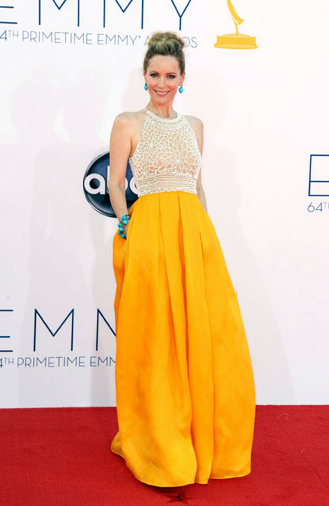 Leslie Mann arrives at the 64th Primetime Emmy Awards at the Nokia Theatre on Sunday, Sept. 23, 2012, in Los Angeles.