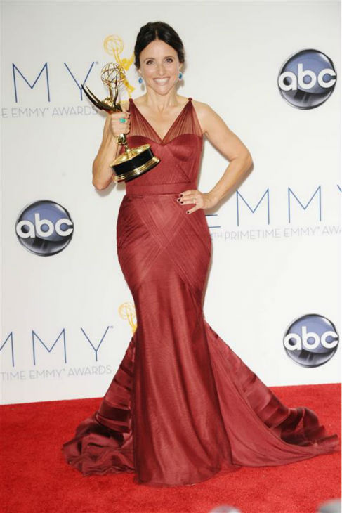 Julia Louis-Dreyfus appears backstage at the 2012 Emmy Awards with the Emmy she won for her role as Vice President Selina Meyer on the HBO series &#39;Veep,&#39; in Los Angeles on Sept. 23, 2009. <span class=meta>(Kyle Rover &#47; Startraksphoto.com)</span>
