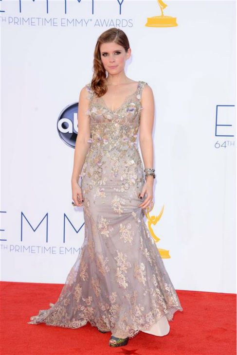 "<div class=""meta ""><span class=""caption-text "">Kate Mara appears at the 2012 Emmy Awards in Los Angeles on Sept. 23, 2012. She is wearing a Badgley Mischka Couture gown. (Kyle Rover / Startraksphoto.com)</span></div>"