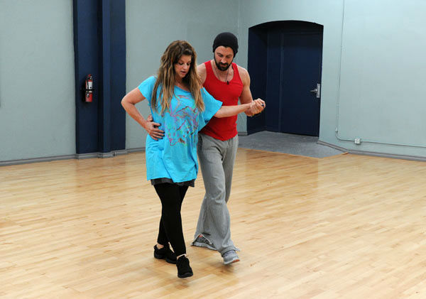 Kirstie Alley and Maksim Chmerkovskiy appear in a rehear