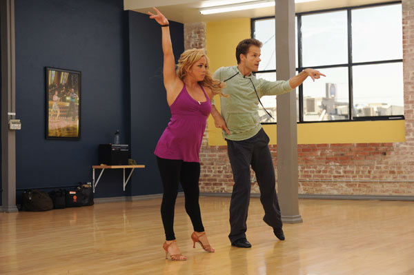 Sabrina Bryan and Louis van Amstel appear in a rehearsal photo for '