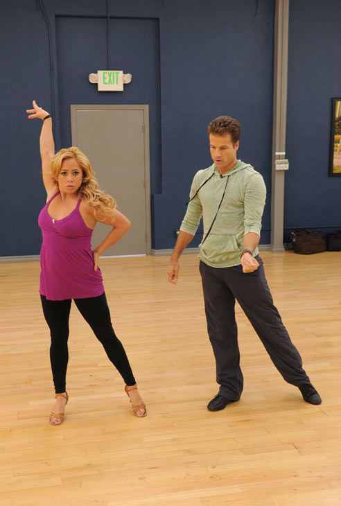 Sabrina Bryan and Louis van Amstel appear in a rehearsal photo for 'Dancing
