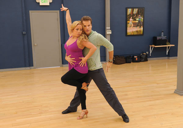 Sabrina Bryan and Louis van Amstel appear in a rehearsal photo for
