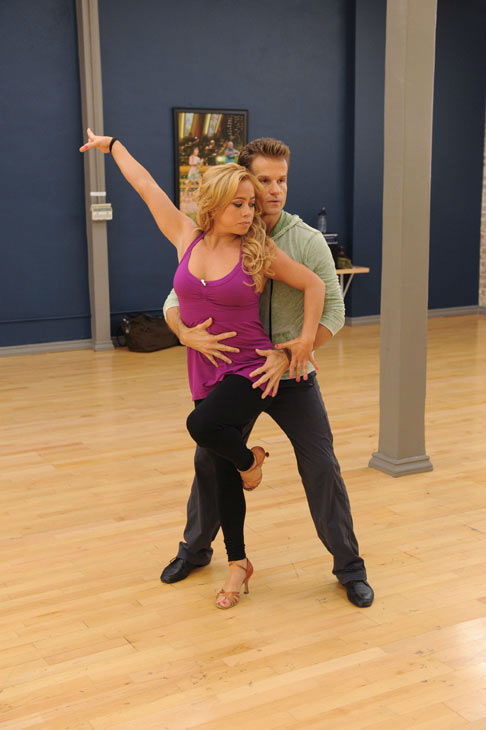Sabrina Bryan and Louis van Amstel appear in a rehearsal