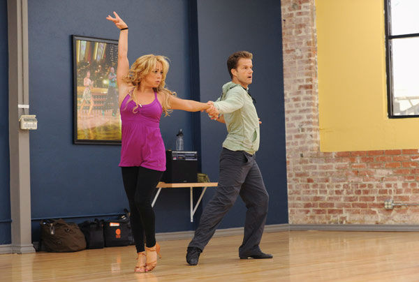 Sabrina Bryan and Louis van Amstel appear in a rehe