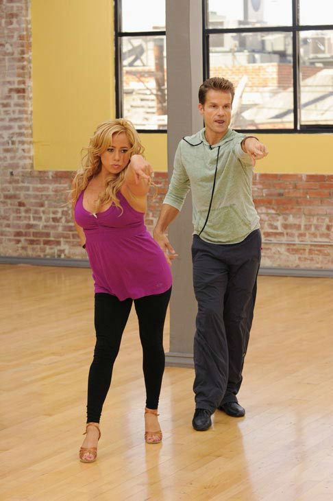 Sabrina Bryan and Louis van Amstel appear in a rehearsal photo for 'Dancing With The Stars: All-Stars' season 15.