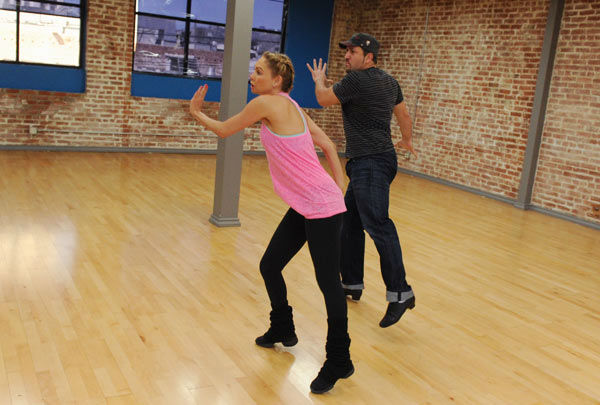 Joey Fatone and two-time champ Kym Johnson, who were partners in season 4, appear in a rehearsal photo for 'Dancing With The Stars: All-Stars' season