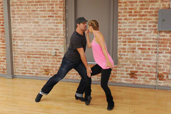 Joey Fatone and two-time champ Kym Johnson, who were partners in season 4, appear in a rehearsal photo