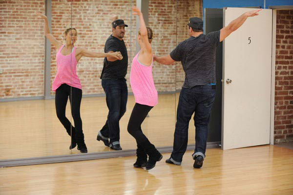 Joey Fatone and two-time champ Kym Johnson, who were partners in season 4, appear in a rehearsal photo f