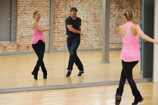 Joey Fatone and two-time champ Kym Johnson, who were partners in season 4, appear in a rehearsal photo for 'Dancing With The Stars: All-Stars' season 15.