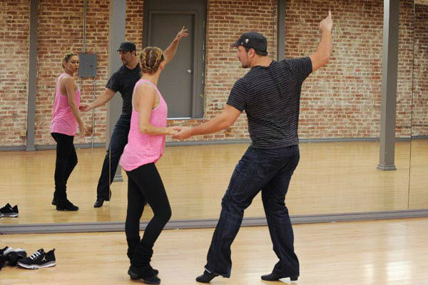 Joey Fatone and two-time champ Kym Johnson, who were partners in season 4, appear in a rehearsal photo for 'Dancing With The Stars: All