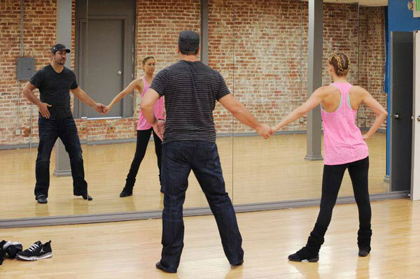 Joey Fatone and two-time champ Kym Johnson, who were partners in season 4, appear in a rehearsal photo for