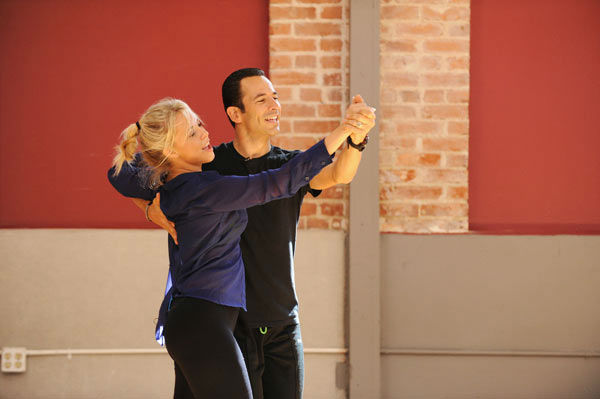 Helio Castroneves and Chelsie Hightower appear in a rehearsal photo for 'Dancing With The Star