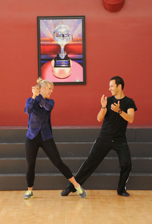 Helio Castroneves and Chelsie Hightower appear in a rehearsal photo for 'Dancing With The Stars: All-Stars' season 15.