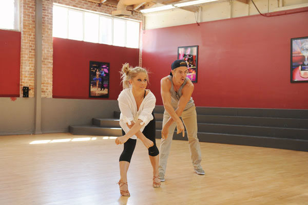 "<div class=""meta ""><span class=""caption-text "">Shawn Johnson and three-time champ Derek Hough appear in a rehearsal photo for 'Dancing With The Stars: All-Stars' season 15. (ABC Photo/ Todd Wawrychuk)</span></div>"