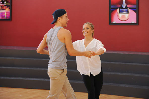 Shawn Johnson and three-time champ Derek Hough appear in a rehearsal photo for &#39;Dancing With The Stars: All-Stars&#39; season 15. <span class=meta>(ABC Photo&#47; Todd Wawrychuk)</span>