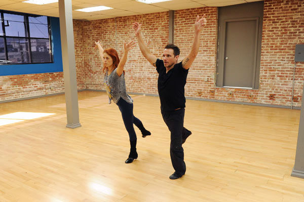 "<div class=""meta ""><span class=""caption-text "">Drew Lachey and Anna Trebunskaya appear in a rehearsal photo for 'Dancing With The Stars: All-Stars' season 15. (ABC Photo/ Todd Wawrychuk)</span></div>"