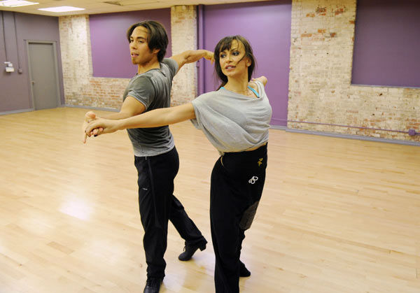 "<div class=""meta ""><span class=""caption-text "">Apolo Anton Ohno and season 13 champ Karina Smirnoff appear in a rehearsal photo for 'Dancing With The Stars: All-Stars' season 15. (ABC Photo/ Todd Wawrychuk)</span></div>"