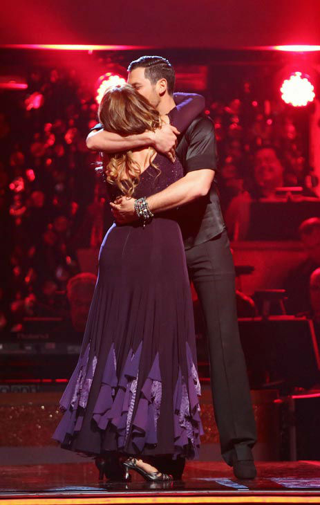Actress Kirstie Alley and her partner Maksim Chmerkovskiy react to being safe from elimination. The couple received 19 out of 30 points from the judges for their Fox Trot on the season premiere of &#39;Dancing With The Stars: All-Stars&#39; on September 24, 2012.  <span class=meta>(ABC Photo&#47; Adam Taylor)</span>