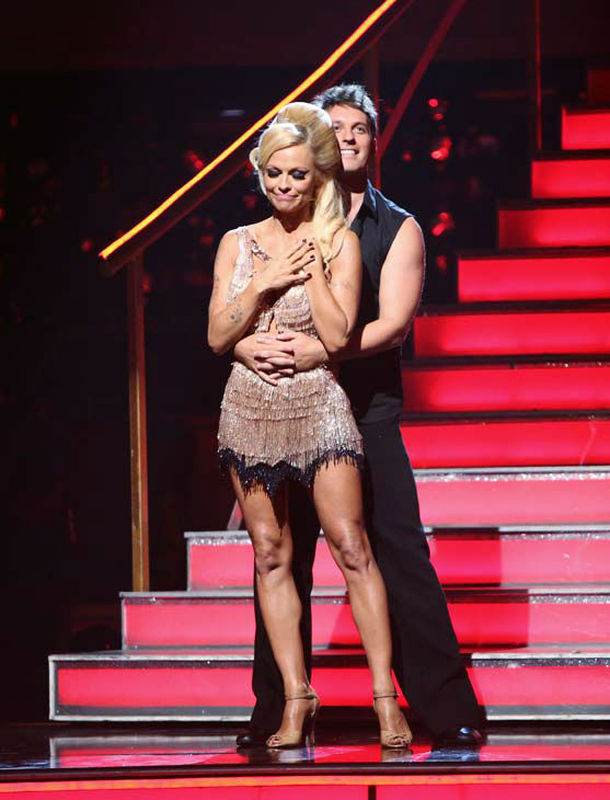 Former Playboy Playmate Pamela Anderson and her partner Tristan MacManus await their fate on &#39;Dancing With The Stars: The Results Show&#39; on Tuesday, September 25, 2012. The pair received 17 out of 30 points from the judges for their Cha Cha Cha on the season premiere of &#39;Dancing With The Stars: All-Stars,&#39; which aired on September 24, 2012.  <span class=meta>(ABC Photo&#47; Adam Taylor)</span>