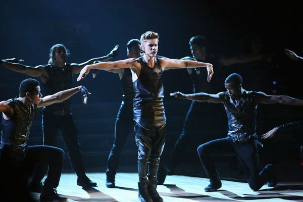 Justin Bieber performed on 'Dancing With The Stars: The Results Show' on Tuesday, September 25, 2012. He sang his second single off his 'Believe' album titled 'As Long as You Love Me.'
