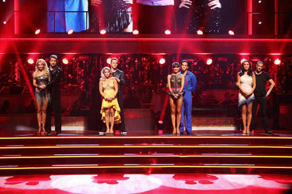Kym Johnson, Joey Fatone, Shawn Johnson, Derek Hough, Karina Smirnoff, Apolo Anton Ohno, Bristol Palin and Mark Ballas await their fate on 'Dancing With The Stars: The Results Show' on Tuesday, September 25, 2012.