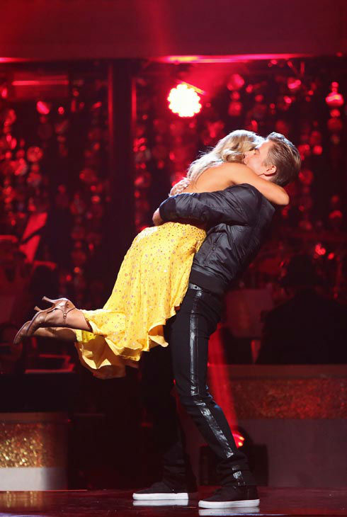 Olympic gymnast Shawn Johnson and her partner Derek Hough react to being safe from elimination. The couple received 22 out of 30 points from the judges for their Fox Trot on the season premiere of &#39;Dancing With The Stars: All-Stars,&#39; which aired on September 24, 2012.  <span class=meta>(ABC Photo&#47; Adam Taylor)</span>