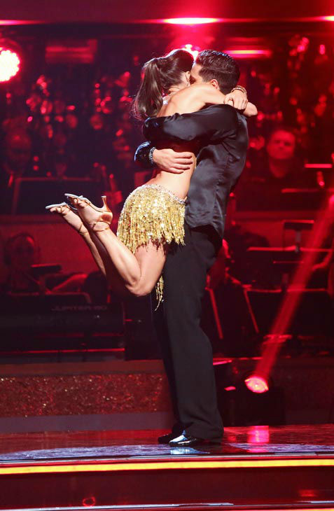 &#39;General Hospital&#39; actress Kelly Monaco and her partner Valentin Chmerkovskiy react to being safe from elimination. The couple received 21.5 out of 30 points from the judges for their Cha Cha Cha on the season premiere of &#39;Dancing With The Stars: All-Stars,&#39; which aired on September 24, 2012.  <span class=meta>(ABC Photo&#47; Adam Taylor)</span>