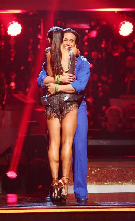 Olympic speed skater Apolo Anton Ohno and his partner Karina Smirnoff react to being safe from elimination.