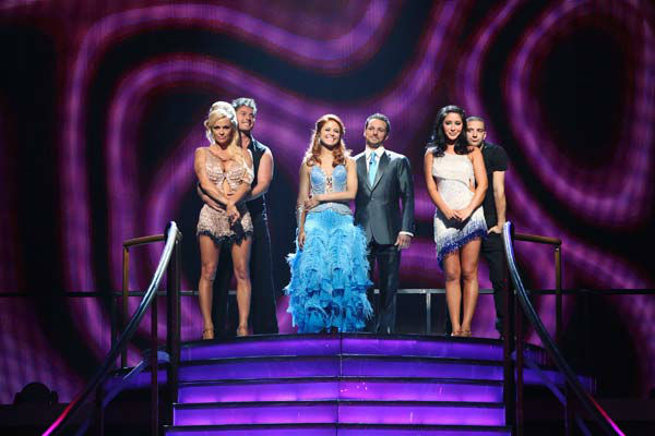 Pamela Anderson, Tristan Macmanus, Anna Trebunskaya, Drew Lachey, Bristol Palin and Mark Ballas await their fate on 'Dancing With The Stars: The Results Show' on Tuesday, September 25, 2012.