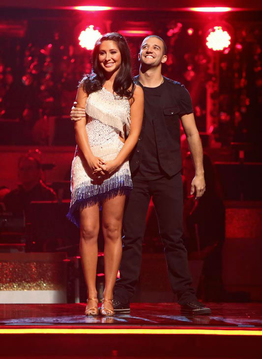 "<div class=""meta ""><span class=""caption-text "">Reality star Bristol Palin and her partner Mark Ballas await their fate on 'Dancing With The Stars: The Results Show' on Tuesday, September 25, 2012. The pair received 19.5 out of 30 points from the judges for their Cha Cha Cha on the season premiere of 'Dancing With The Stars: All-Stars,' which aired on September 24, 2012.  (ABC Photo/ Adam Taylor)</span></div>"
