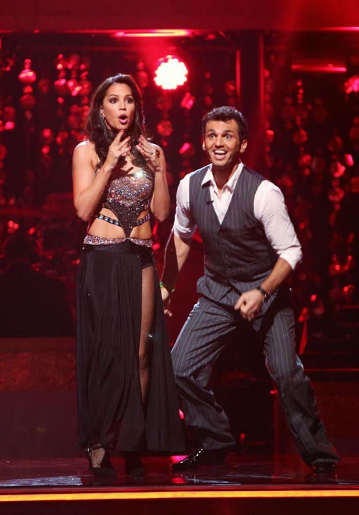 Reality star Melissa Rycroft and her partner Tony Dovolani react to being safe from elimination. The couple received 21 out of 30 points from the judges for their Fox Trot on the season premiere of &#39;Dancing With The Stars: All-Stars,&#39; which aired on September 24, 2012.  <span class=meta>(ABC Photo&#47; Adam Taylor)</span>