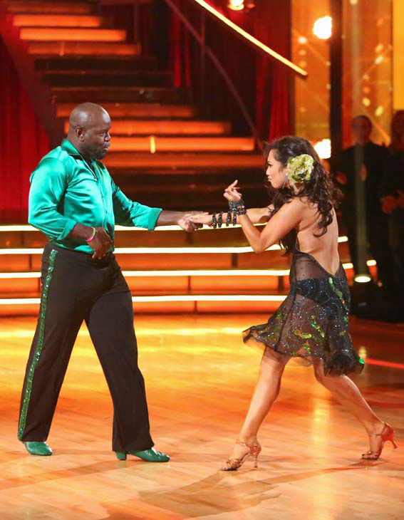 NFL star Emmitt Smith and his partner Cheryl Burke give an encore performance of their Cha Cha Cha on 'Dancing With The Stars: The Results Show' on Tuesday, September 25, 2012.