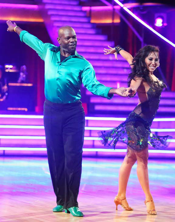 "<div class=""meta ""><span class=""caption-text "">NFL star Emmitt Smith and his partner Cheryl Burke give an encore performance of their Cha Cha Cha on 'Dancing With The Stars: The Results Show' on Tuesday, September 25, 2012. (ABC Photo/ Adam Taylor)</span></div>"