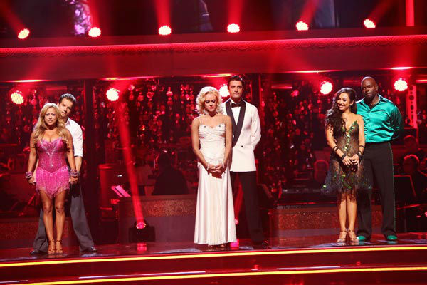 Sabrina Bryan, Louis Van Amstel, Peta Murgatroyd, Gilles Marini, Cheryl Burke, Emmitt Smith await their fate on 'Dancing With The Stars: The Results Show' on Tuesday, September 25, 2012.