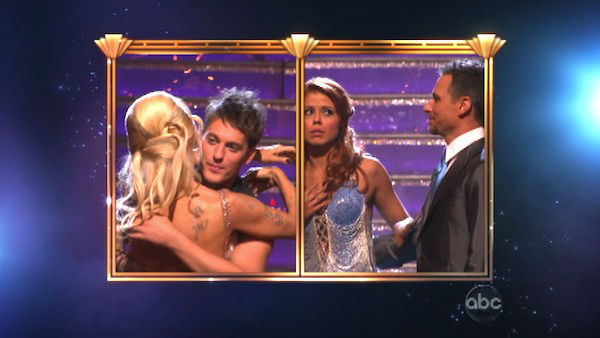 Former Playboy Playmate Pamela Anderson and her partner Tristan MacManus react to being eliminated on 'Dancing With The Stars: The Results Show' on Tuesday, September 25.