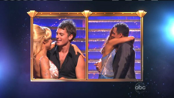 Former Playboy Playmate Pamela Anderson and her partner Tristan MacManus react to being eliminated on &#39;Dancing With The Stars: The Results Show&#39; on Tuesday, September 25. The pair received 17 out of 30 points from the judges for their Cha Cha Cha on the season premiere of &#39;Dancing With The Stars: All-Stars,&#39; which aired on September 24, 2012.  <span class=meta>(ABC Photo)</span>