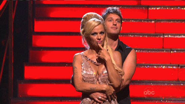 Former Playboy Playmate Pamela Anderson and her partner Tristan MacManus await their fate on 'Dancing With The Stars: The Results Show' on Tuesday, September 25.