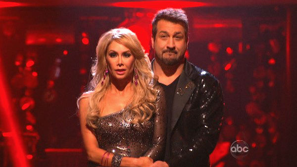 Former member of the boy band &#39;N Sync, Joey Fatone and his partner Kym Johnson await their fate on &#39;Dancing With The Stars: The Results Show&#39; on Tuesday, September 25. The pair received 20.5 out of 30 points from the judges for their Cha Cha Cha on the season premiere of &#39;Dancing With The Stars: All-Stars,&#39; which aired on September 24, 2012.  <span class=meta>(ABC Photo)</span>