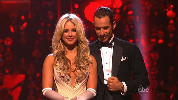 "<div class=""meta ""><span class=""caption-text "">Brazilian auto racing driver Helio Castroneves and his partner Chelsie Hightower await their fate on 'Dancing With The Stars: The Results Show' on Tuesday, September 25. The pair received 21.5 out of 30 points from the judges for their Fox Trot on the season premiere of 'Dancing With The Stars: All-Stars,' which aired on September 24, 2012.  (ABC Photo)</span></div>"